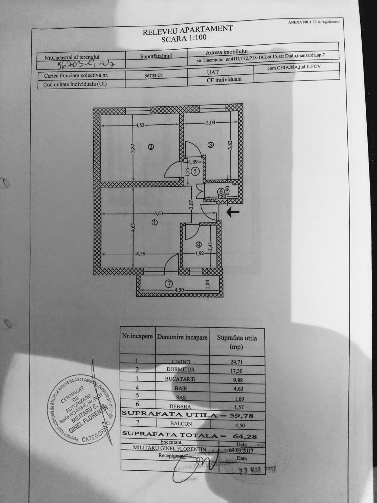 SOLD !!!2 Rooms Parcare Spatios 65m Militari Residence Chiajna